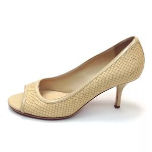 KATE SPADE Snake Embossed Leather Open Toe